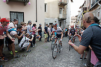 riders on the last ascent of the very steep (20%) cobbled Via Principi d'Acaja<br /> <br /> stage 18: Muggio - Pinerolo (240km)<br /> 99th Giro d'Italia 2016