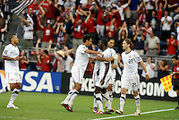 Team mates celebrtae Jozy Altidore's goal...USMNT defeated Guadeloupe 1-0 in Gold Cup play at LIVESTRONG Sporting Park, Kansas City, Kansas.