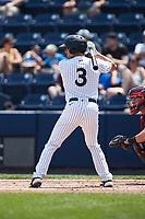 Armando Alvarez (3) of the Scranton/Wilkes-Barre RailRiders at bat against the Rochester Red Wings at PNC Field on July 25, 2021 in Moosic, Pennsylvania. (Brian Westerholt/Four Seam Images)