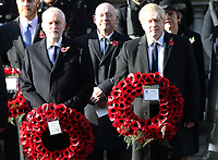 ***NO UK*** REF: MTX 193994 - Leader of the Labour Party Jeremy Corbyn and British Prime Minister Boris Johnson attend the annual Remembrance Sunday memorial at The Cenotaph in London, England.  NOVEMBER 10th 2019. Credit: Trevor Adams/Matrix/MediaPunch