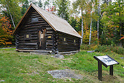 The Fabyan Guard Station during the autumn months. It was built in 1923 by Clifford Graham along the old Jefferson Turnpike (now Old Cherry Mountain Road) in the Carroll, New Hampshire. It's the last remaining guard station in the White Mountain National Forest. The cabin was built using spruce logs from the surrounding area.