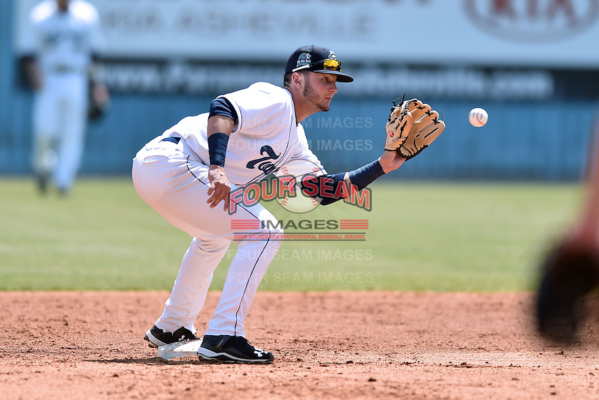 Asheville Tourists second baseman Forrest Wall (7) takes a throw during a game against the Lexington Legends on May 3, 2015 in Asheville, North Carolina. The Legends defeated the Tourists 6-3. (Tony Farlow/Four Seam Images)