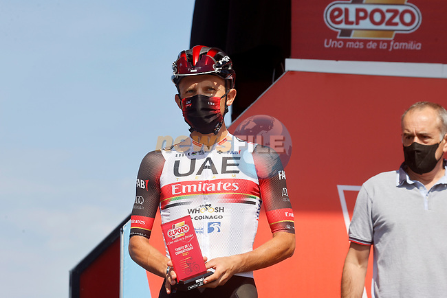 Rafal Majka (POL) UAE Team Emirates most aggressive rider from yesterday's stage at sign on before the start of Stage 16 of La Vuelta d'Espana 2021, running 180km from Laredo to Santa Cruz de Bezana, Spain. 31st August 2021.   <br /> Picture: Luis Angel Gomez/Photogomezsport | Cyclefile<br /> <br /> All photos usage must carry mandatory copyright credit (© Cyclefile | Luis Angel Gomez/Photogomezsport)