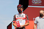 Rafal Majka (POL) UAE Team Emirates most aggressive rider from yesterday's stage at sign on before the start of Stage 16 of La Vuelta d'Espana 2021, running 180km from Laredo to Santa Cruz de Bezana, Spain. 31st August 2021.   <br /> Picture: Luis Angel Gomez/Photogomezsport   Cyclefile<br /> <br /> All photos usage must carry mandatory copyright credit (© Cyclefile   Luis Angel Gomez/Photogomezsport)