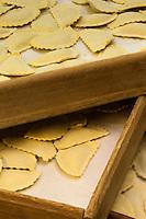 Europe/France/Provence-Alpes-Côte d'Azur/Alpes-Maritimes/Nice:  Fabrication des pâtes: Agnolottis à la Maison Quirino  // Europe, France, Provence-Alpes-Côte d'Azur, Alpes-Maritimes, Nice:  Quirino, This place, representative of traditional Niçois craftsmanship, is classic for Niçois-style raviolis, fresh pastas Agnolottis