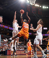 CHARLOTTESVILLE, VA- NOVEMBER 20: Shekinna Stricklen #40 of the Tennessee Lady Volunteers shoots between Lexie Gerson #14 of the Virginia Cavaliers and Chelsea Shine #50 of the Virginia Cavaliers during the game on November 20, 2011 at the John Paul Jones Arena in Charlottesville, Virginia. Virginia defeated Tennessee in overtime 69-64. (Photo by Andrew Shurtleff/Getty Images) *** Local Caption *** Chelsea Shine;Lexie Gerson;Shekinna Stricklen