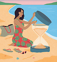 Woman on beach holiday filling hourglass with more sand