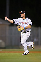 Kannapolis Intimidators third baseman Cody Daily (31) makes a throw to home plate during the game against the Hickory Crawdads at Kannapolis Intimidators Stadium on April 9, 2016 in Kannapolis, North Carolina.  The Crawdads defeated the Intimidators 6-1 in 10 innings.  (Brian Westerholt/Four Seam Images)