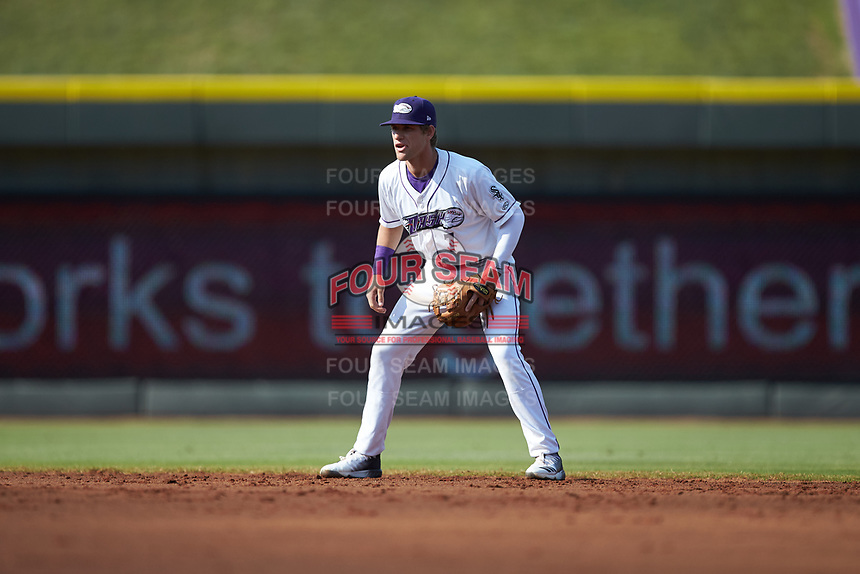 Winston-Salem Dash shortstop Zach Remillard (7) on defense against the Carolina Mudcats at BB&T Ballpark on June 1, 2019 in Winston-Salem, North Carolina. The Mudcats defeated the Dash 6-3 in game one of a double header. (Brian Westerholt/Four Seam Images)