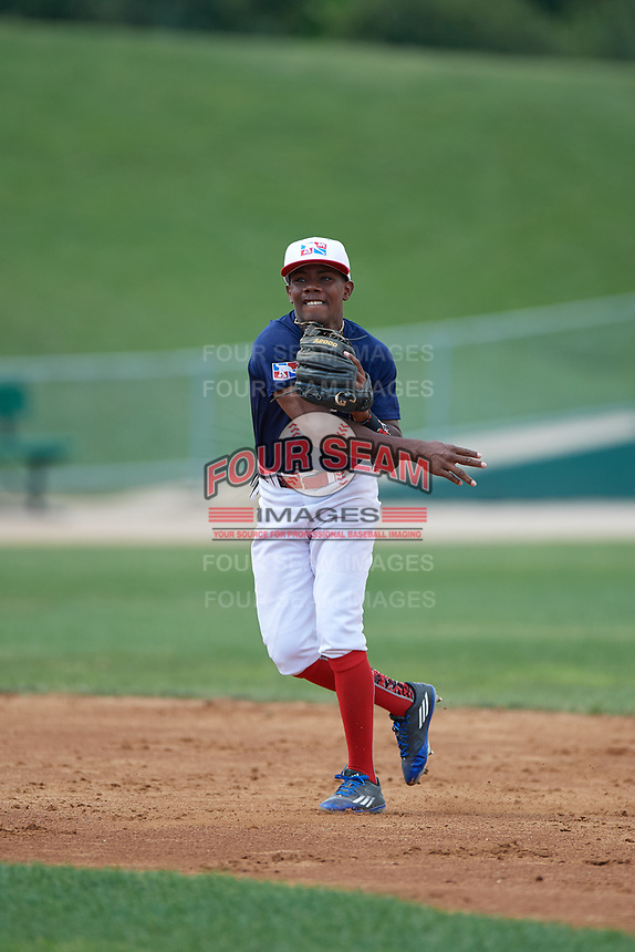 Omar Florentino (3) during the Dominican Prospect League Elite Underclass International Series, powered by Baseball Factory, on August 31, 2017 at Silver Cross Field in Joliet, Illinois.  (Mike Janes/Four Seam Images)