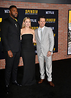 "LOS ANGELES, CA: 27, 2020: Winston Duke, Iliza Shlesinger & Mark Wahlberg  at the world premiere of ""Spenser Confidential"" at the Regency Village Theatre.<br /> Picture: Paul Smith/Featureflash"