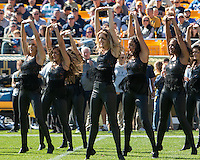 Members of the Pitt dance girl team perform during a break. The Pitt Panthers football team defeated the Virginia Cavaliers 26-19 on Saturday October 10, 2015 at Heinz Field, Pittsburgh, Pennsylvania.