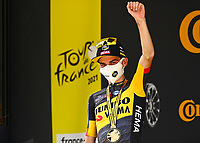 11th July 2021, Ceret, Pyrénées-Orientales, France; Tour de France cycling tour, stage 15, Ceret to  Andorre-La-Vieille;  KUSS Sepp (USA) of JUMBO - VISMA pictured during the podium ceremony  during stage 15 of the 108th edition of the 2021 Tour de France cycling race, a stage of 191,3 kms between Ceret and Andorre-La-Vieille.