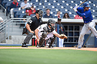 ***Temporary Unedited Reference File***Nashville Sounds catcher Matt McBride (10) during a game against the Iowa Cubs on May 4, 2016 at First Tennessee Park in Nashville, Tennessee.  Iowa defeated Nashville 8-4.  (Mike Janes/Four Seam Images)