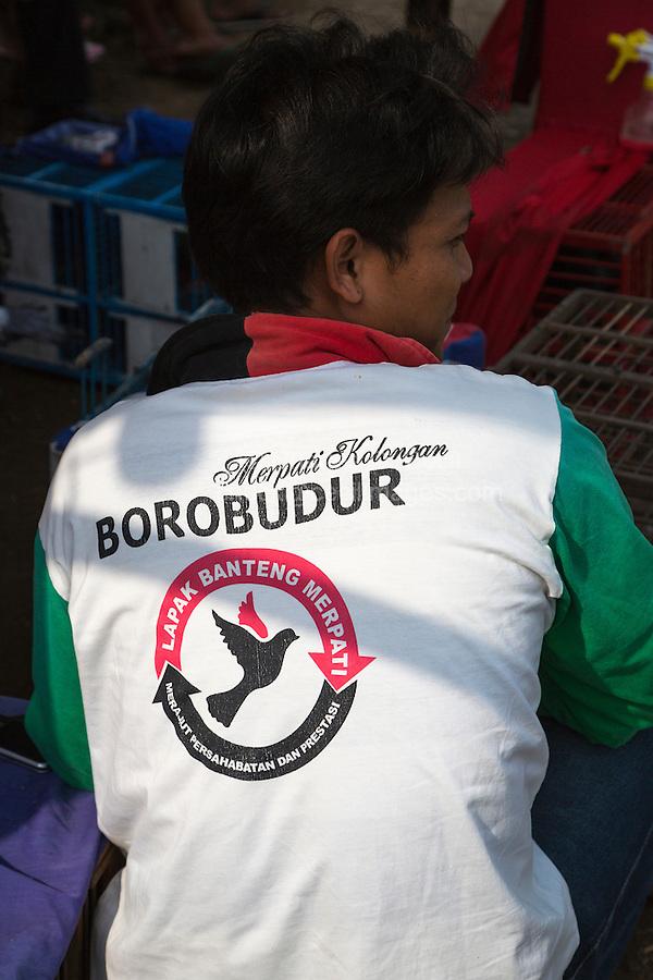 Borobudur, Java, Indonesia.  T-shirt for a Pigeon Racing Club, a Popular Sport on Java.