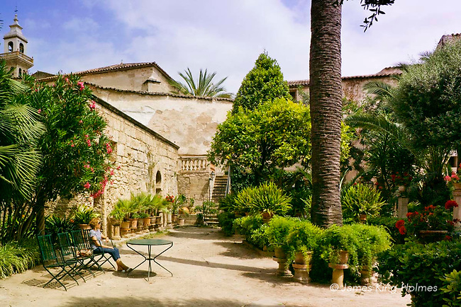 The gardens of the Banos Arabes, or Arabic Baths, in Palma de Mallorca. This example of Muslim architecture and garden design is one of the few monuments to the Arabic occupation and influence on the island.
