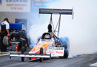 Oct. 2, 2011; Mohnton, PA, USA: NHRA top fuel dragster driver Clay Millican during the Auto Plus Nationals at Maple Grove Raceway. Mandatory Credit: Mark J. Rebilas-