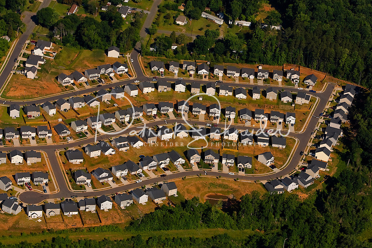 Aerial photo of a newly constructed Charlotte neighborhood taken May 2008.