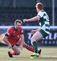 20th February 2021; Trailfinders Sports Club, London, England; Trailfinders Challenge Cup Rugby, Ealing Trailfinders versus Doncaster Knights; Harry strong of Doncaster Knights twists his knee badly while tying to go round Jack Tovey of Ealing Trailfinders