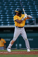 AZL Athletics Gold Marcus Smith (5) at bat during an Arizona League game against the AZL Cubs 1 at Sloan Park on June 20, 2019 in Mesa, Arizona. AZL Athletics Gold defeated AZL Cubs 1 21-3. (Zachary Lucy/Four Seam Images)