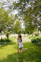 Woman standing in garden