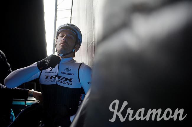 Fabian Cancellara (SUI/TREK Factory Racing) backstage on the start podium at the 58th E3 Harelbeke 2015