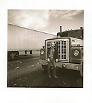 Trucker, 1980, Route I-80, PA. Vintage Print 6x6 on Agfa Brovira, 1/1, 80-104-2 file#