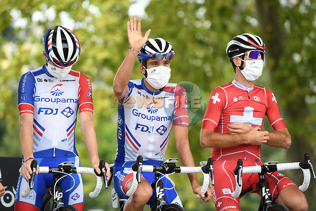 Thibaut Pinot (FRA) and Groupama-FDJ at sign on before the start of Stage 9 of Tour de France 2020, running 153km from Pau to Laruns, France. 6th September 2020. <br /> Picture: ASO/Alex Broadway | Cyclefile<br /> All photos usage must carry mandatory copyright credit (© Cyclefile | ASO/Alex Broadway)