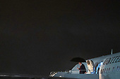 United States President Donald J. Trump exits Air Force One on September 18th, 2020 at Joint Base Andrews in Maryland. The President is returning to Washington after a campaign rally in Mosinee, Wisconsin <br /> Credit: Alex Edelman / Pool via CNP