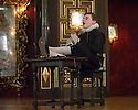 London, UK. 10.04.2014. Shakespeare's Globe presents THE MALCONTENT, in the Sam Wanamaker Playhouse, with the Globe Young Players, directed by Caitlin McLeod. Picture shows: Guy Amos (Mendoza). Photograph © Jane Hobson.