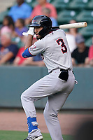 Shortstop Jonathan Ornelas (3) of the Hickory Crawdads in a game against the Greenville Drive on Friday, June 18, 2021, at Fluor Field at the West End in Greenville, South Carolina. (Tom Priddy/Four Seam Images)