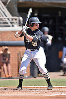 Vanderbilt Commodores catcher Karl Ellison (25) awaits a pitch during a game agains against the Tennessee Volunteers at Lindsey Nelson Stadium on April 24, 2016 in Knoxville, Tennessee. The Volunteers defeated the Commodores 5-3. (Tony Farlow/Four Seam Images)