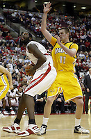 2 December 2006: Ohio State's Greg Oden, left, tries to shoot over Valparaiso's Calum Macleod at Value City Arena in Columbus, Ohio. Oden was the nation's top high school player for the past two years and made his college debut tonight after sitting out with a wrist injury.<br />