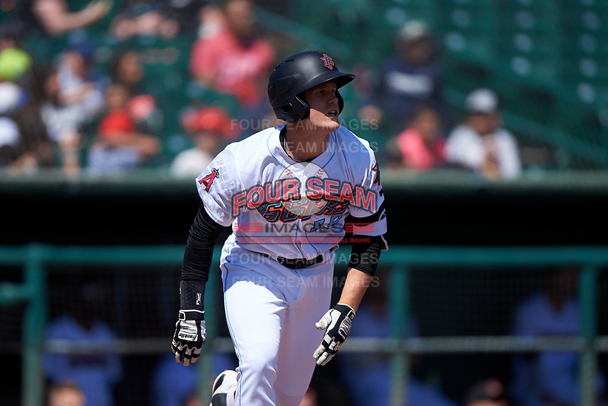Inland Empire 66ers David MacKinnon (19) jogs down the first base line during a California League game against the Modesto Nuts on April 10, 2019 at San Manuel Stadium in San Bernardino, California. Inland Empire defeated Modesto 5-4 in 13 innings. (Zachary Lucy/Four Seam Images)