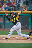 Joe Hudson (19) of the Salt Lake Bees bats against the El Paso Chihuahuas at Smith's Ballpark on August 13, 2018 in Salt Lake City, Utah. Salt Lake defeated El Paso 4-3. (Stephen Smith/Four Seam Images)