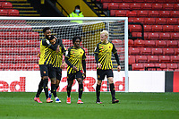 20th March 2021; Vicarage Road, Watford, Hertfordshire, England; English Football League Championship Football, Watford versus Birmingham City; Nathaniel Chalobah of Watford congratulates Andre Gray for his goal and Watfords third for 3-0 in the 80th minute