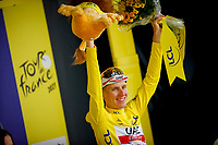 10th July 2021; Carcassonne, France; POGACAR Tadej (SLO) of UAE TEAM EMIRATES pictured during the podium ceremony in the yellow jersey after stage 14 of the 108th edition of the 2021 Tour de France cycling race, a stage of 183,7 kms between Carcassonne and Quillan