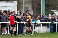 Morgan Ward of Richmond Rugby leaves the pitch after being yellow carded during the English National League match between Richmond and Blackheath  at Richmond Athletic Ground, Richmond, United Kingdom on 4 January 2020. Photo by Carlton Myrie.