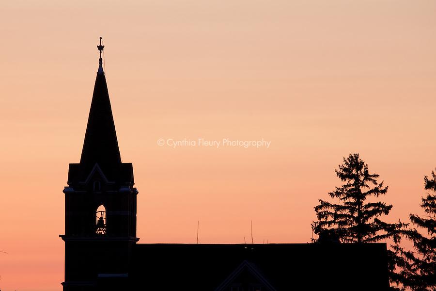 Church Steeple silhouette Lanesboro Harmony Minnesota area.