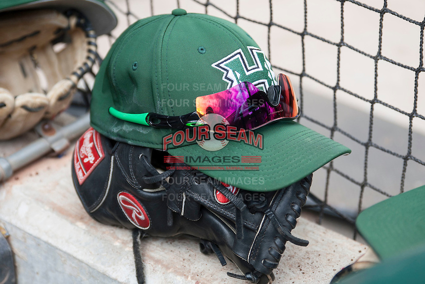 Hawaii Rainbow Warriors baseball hat on March 7, 2015 at the Houston College Classic held at Minute Maid Park in Houston, Texas. Nebraska defeated Hawaii 4-3. (Andrew Woolley/Four Seam Images)