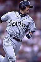 Ichiro Suzuki of the Seattle Mariners during a 2001 season MLB game at Angel Stadium in Anaheim, California. (Larry Goren/Four Seam Images)