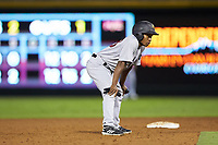 Scranton/Wilkes-Barre RailRiders pinch-runner Terrance Gore (28) takes his lead off of second base against the Charlotte Knights at BB&T BallPark on August 14, 2019 in Charlotte, North Carolina. The Knights defeated the RailRiders 13-12 in ten innings. (Brian Westerholt/Four Seam Images)