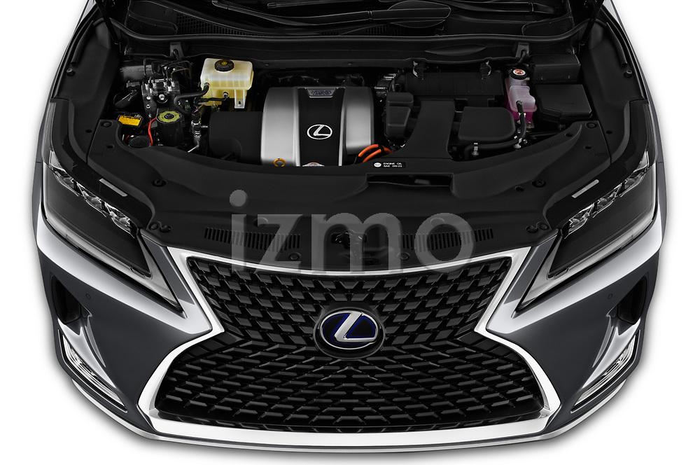 Car stock 2020 Lexus RX Hybrid 450h 5 Door SUV engine high angle detail view