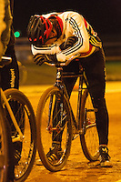 31 MAR 2015 - IPSWICH, GBR - Ashley Hill waits to start the next drill during an Ipswich Cycle Speedway Club training session at Whitton Sports and Community Centre in Ipswich, Great Britain (PHOTO COPYRIGHT © 2015 NIGEL FARROW, ALL RIGHTS RESERVED)