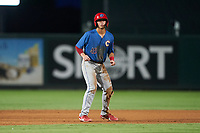 Clearwater Threshers Matt Kroon (45) leads off during a Florida State League game against the Palm Beach Cardinals on August 9, 2019 at Roger Dean Chevrolet Stadium in Jupiter, Florida.  Palm Beach defeated Clearwater 3-0 in the second game of a doubleheader.  (Mike Janes/Four Seam Images)
