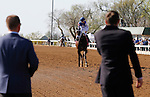 LEXINGTON, KY - APRIL 16: Norman Casse (left) waits for #8 Tepin and jockey Julien Leparoux after winning the 28th running of the Coolmore Jenny Wiley (Grade 1) $350,000 at Keeneland race course for owner Robert E. Masterson, and trainer Mark Casse.  April 16, 2016 in Lexington, Kentucky. (Photo by Candice Chavez/Eclipse Sportswire/Getty Images)