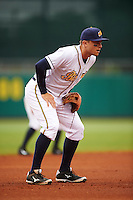 Montgomery Biscuits third baseman Richie Shaffer (8) during a game against the Jackson Generals on April 29, 2015 at Riverwalk Stadium in Montgomery, Alabama.  Jackson defeated Montgomery 4-3.  (Mike Janes/Four Seam Images)