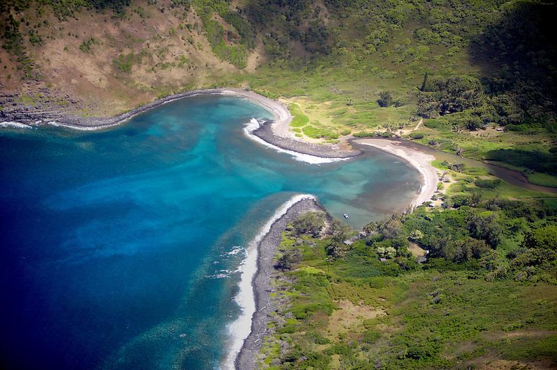 Molokai coastline and bay from the air. Molokai. Hawaii