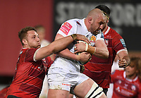 26th March 2021; Kingsholm Stadium, Gloucester, Gloucestershire, England; English Premiership Rugby, Gloucester versus Exeter Chiefs; Ruan Ackermann of Gloucester tackles Will Witty of Exeter Chiefs