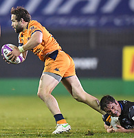 1st May 2021; Recreation Ground, Bath, Somerset, England; European Challenge Cup Rugby, Bath versus Montpellier; Cobus Reinach of Montpellier cannot evade the Bath tackle